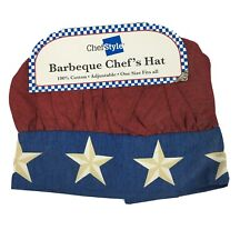 New Vintage style retro Chef's hat barbecue bbq gift Nwt Red Blue Stars