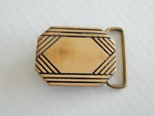 VINTAGE SOLID BRASS BELT BUCKLE MADE IN USA BY BTS