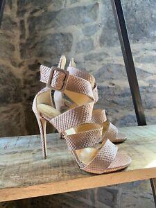 Giuseppe Zanotti Nude Snakeskin Pattern Leather Cage Sandals - SIZE 38 IT - 8 US