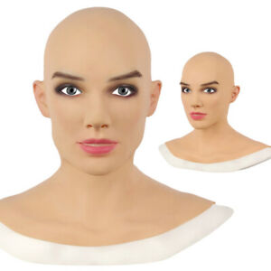 Realistic Female Latex Head Cover Cosplay Drag Queen Halloween Party Fancy Mask