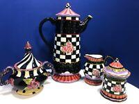 Designer Inspired Amber Rose Black & White Check Coffee Pot Set Nanette Vacher