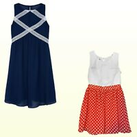 NWT Amy's Closet Girl's Ruffled Dress - Polka Dots Orange/White or Navy/White