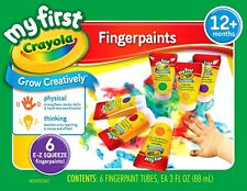 Crayola Finger Paint 81-1429 washable FingerPaint Easy Squeeze Bottles 6 Colors