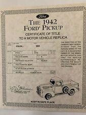 Danbury Mint 1942 Ford Pickup Truck Title