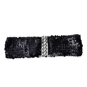 Bling Womens Rivet Sequins Elastic Stretch Wide Waist Belt Waistband S P5