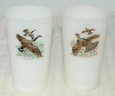(2) Anchor Hocking Fire King Game Bird 11 oz Tumbler Canada Goose, Ruffed Grouse