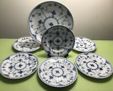 Royal Copenhagen Blue Fluted Half Lace 6+1 Dessert Set Or Bread - Butter Plates