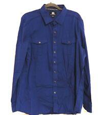 Rock & Republic Men Shirt XL Blue Front Pockets Long Sleeves Metal Buttons