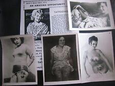 VINTAGE Lot of 4 Kobel Photos & Repro Catalog...'' Tattooed ladies ''..7x5 in