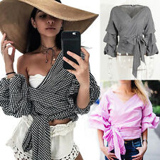 Women Off Shoulder Stripe Tops Loose Flare Sleeve Casual T-Shirt Blouse