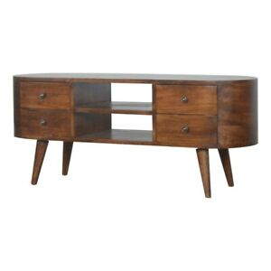 Solid Dark Wood Curved Media TV Unit 4 Drawers Rounded Edges Handmade Furniture