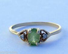 Ladies Oval Peridot Gemstone Ring w/ 2 Diamonds - 10k Yellow Gold