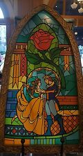 Disney Parks Beauty and the Beast Stained Glass Window Fantasyland Wall Art NEW