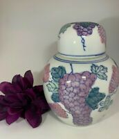 Vintage Made in China White Purple Blue Porcelain Ginger Jar Vase Grapes Vines