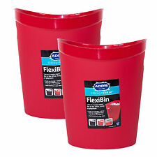 2 x Addis Red Plastic Flexi-Bins Waste Paper Baskets Rubbish Office Kids Bedroom