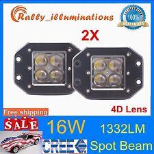 2X 4.7inch 16W CREE LED Work Light 4D Lens Spot Driving Truck Flush Mount 12V24V
