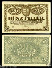 Hungary 20 Filler 1920 P#43 paper banknote Magyar Ungarn Magyar XF