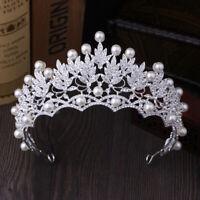 2019 New Fashion Wedding Crystal Pearl Crowns Rhinestone Tiara Brides HairRKCA