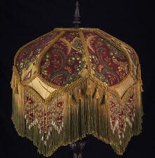VICTORIAN LAMP SHADE PAISLEY DAMASK BURGUNDY GOLD GREEN BEADING FRINGE TASSELS