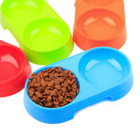 Pets Dog Double Bowls Water & Food Plastic Cat Eating Drinking Feeder Container