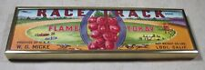 Vintage 1940's Race Track Flame Tokay Lodi Calif Wine Grapes Crate Label Framed