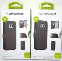 PureGear Express Folio Leather Case for Samsung Galaxy S7 / S7 edge - Black