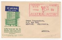 "1963 Nov 7th. Air Mail ""Dymock's"" Meter Cover. Sydney to Mentone, California."