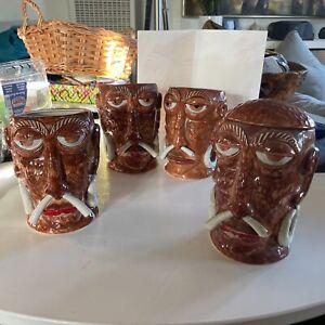 Lot Of 4 Vintage Mr. Bali Hai San Diego Restaurant Tiki Mug Concave Base Glass