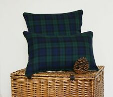 OBLONG TARTAN CUSHION COVER BLACK WATCH HIGHLAND RECTANGLE GREEN NAVY BLUE THROW
