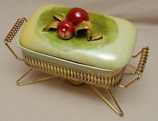 Vintage Pottery Casserole Raised Apples Green Glazed Square Chafing Dish Stand