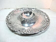Arthur Court Silver Metal Chip & Dip Bowl with Grape & Leaves Design