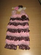 Pink & Brown Petti Lace Romper & Headband Baby Toddler Cake Smash Outfit