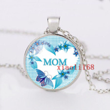 Fashion Jewelry Thanksgiving MOM Glass Pendant Necklace Gifts Wholesale