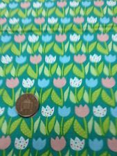 100% Cotton quilting craft Fabric Pink Blue White Floral Tulips Benartex