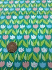 100% Cotton Steppen Handwerk Stoff Rosa Blau Weiße Blumen Tulpen Benartex