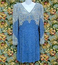 VINTAGE 80S OLEG CASSINI BLACKTIE BLUE BEADED SEQUIN COCKTAIL PARTY DRESS SZ 10