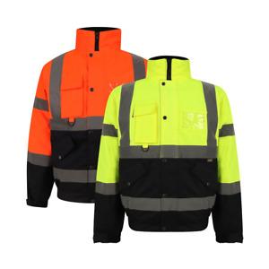 Two Tone Workwear High Viz Bomber jackets Visibility Waterproof Coat Padded