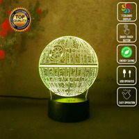 STAR WARS DEATH STAR DARTH VADER 3D Acrylic LED 7 Colour Night Light Touch Lamp