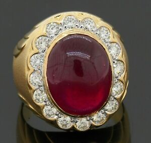 Heavy 18K gold amazing 14.45CTW VS diamond/15 X 12mm cabochon ruby men's ring