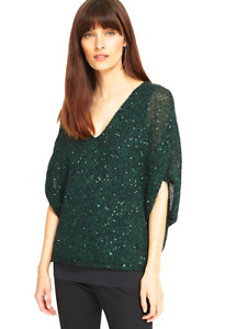 New Phase Eight Green Antonella Sequin Overlay Party Evening Top 8 10  RRP £85