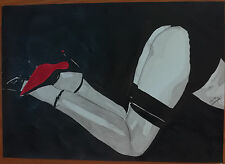 """Dessin encre de chine erotique nu féminin fine art """"Rouge"""" A4 de G.Vanspey"""