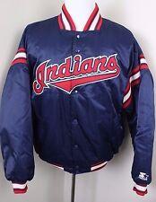 Cleveland Indians Baseball Blue Satin Snap Button Padded Jacket EUC Mens XL