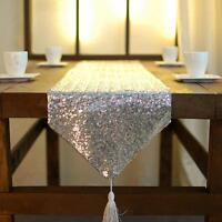 Perlé Bling Marriage Chemin de Table Brillant Paillette Décoration Maison Lit
