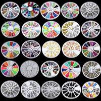 3D DIY Nail Art Tips Studs Glitter Rhinestone Decoration+Wheel Wholesale