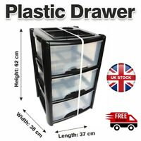 3 Tier Plastic Drawers Storage Office Home Tower Chest Drawer School Uni