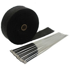 """Black 2""""X50' Motorcycle Exhaust Heat Wrap for Header Mufflers Pipe with 15 ties"""