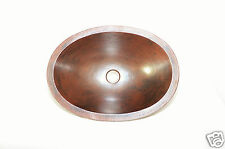 "19""X14""X 6"" APRON 3"" OVAL SINK 100% HAND MADE COPPER SINK"