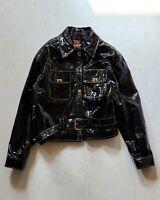 Vintage Men's Chaarms Patent Leather Jacket Belted   Sz L