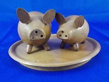 Antiguo Cerdos Sal Y Pimienta Esparcidor Madera 60s Escandinavo Diseño