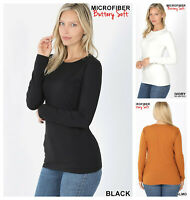 Womens BUTTERLY SOFT CREW NECK Long Sleeve Microfiber Top T SHIRT REG PLUS S-3X